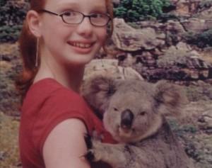 Briana hold a koala